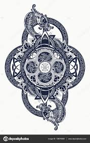 dragons and celtic tree of mystic tribal symbol