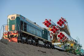soyuz rolls out to launch pad nasa