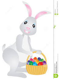 bunny basket eggs easter bunny with basket of eggs illustration royalty free stock