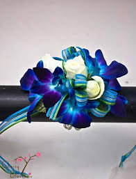 blue orchid corsage blue orchid wrist corsage cherry blossoms florist westminster co