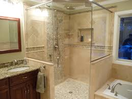 glass tile backsplash pictures bathroom with clear glass door also
