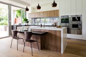 split level kitchen island timber veneer doors sydney kitchen doors creativ kitchens