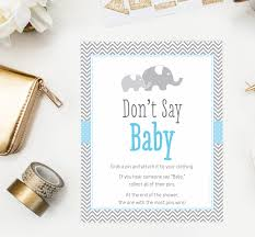 blue elephant don u0027t say baby game diaper pin baby shower