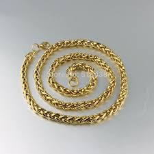 stainless chain link necklace images 26 39 39 6mm men 39 s stainless steel gold weaving rope link chain link jpg