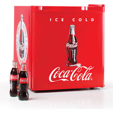 nostalgia coca cola 1 7 cu ft refrigerator with freezer