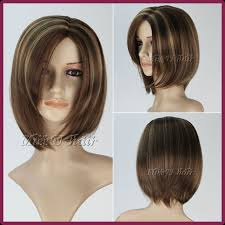short brown hair with light blonde highlights factory price short straight synthetic hair fashion women wig ash