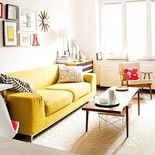 Modern Yellow Sofa Yellow Living Room Furniture Yellow Sofa White Walls Relaxed