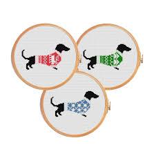 Free Cross Stitch Christmas Ornament Patterns Christmas Dachshund Cross Stitch Pattern Dog Modern Cross