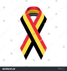 Belgia Flag Ribbon Belgium Flag Black Awareness Ribbon Stock Vector 654544723