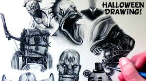 halloween drawing horror game characters fan art time lapse