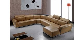 U Sectional Sofas by Tempo Large U Shape Sectional Sofa In Brown Leather