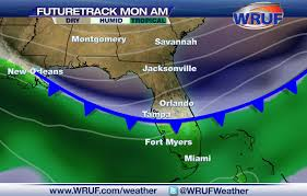 Weather Map Orlando by Weak Front To Bring Slightly Drier Air To North Florida To Start