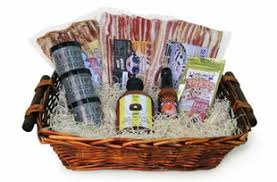 bacon gift basket gift idea for him chica goods