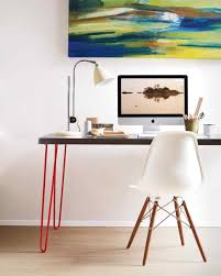 furniture accessories wood top desk with red hairpin leg efat
