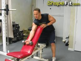 Dumbbell Exercises Chest No Bench - one arm dumbbell incline bench curls biceps exercise guide