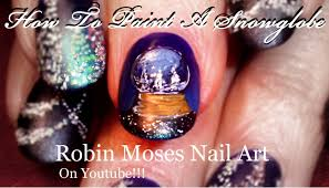 easy christmas nails diy gel snow globe nail art design