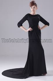 long black 3 4 sleeve formal dress evening gown thecelebritydresses