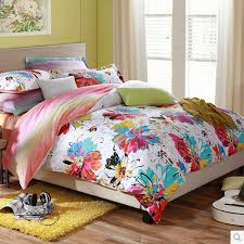 Kid Bed Set Colorful Floral Artistic Cheap Bedding Sets Clearance