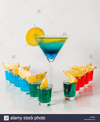 red martini drink eleven color shot drinks red blue and green kamikaze drink in
