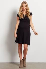 Maternity Drape Dress Black Draped Maternity Nursing Dress