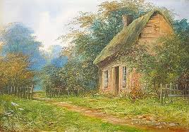 cottage paintings antique painting rural cottage