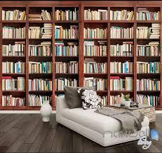 book wall murals idecoroom 3d tall bookshelf books display wall paper mural art print decals office decor idcwp sj