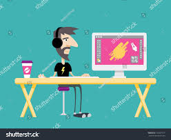 Graphic Design From Home Graphic Freelance Illustrator Designer Character Dude Work Stock Vector