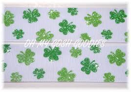 shamrock ribbon 1 5 glitter shamrocks st green grosgrain ribbon 4