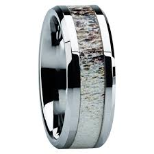 Deer Antler Wedding Rings by 8mm Tungsten Carbide With Antler Inlay C121m At Mwb