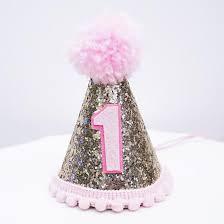 1st birthday girl gold glitter sparkles pink 1st birthday girl cone hat party