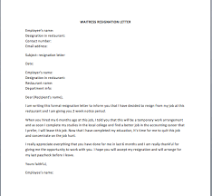 waitress resignation letter u2013 smart letters