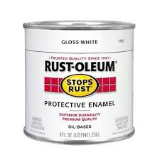 rust oleum stops rust 8 oz gloss white protective enamel paint