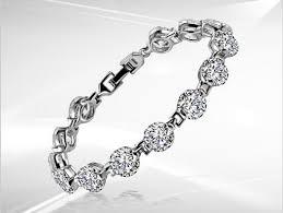 silver bracelet with diamond images 1ct round cut brilliant vvs1 diamond bracelet for women 925 jpg
