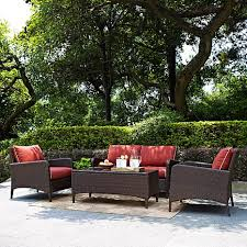 Wicker Armchair Outdoor Crosley Kiawah 4 Piece Outdoor Wicker Seating Set With Sangria
