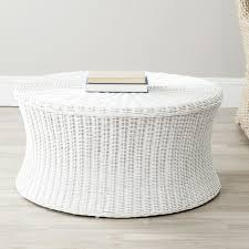 cocktail ottoman oversized coffee table grey oval and wicker