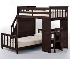 Bunk Bed With Desk And Stairs School House Stair Loft Bunk Bed In Chocolate Finish With Desk