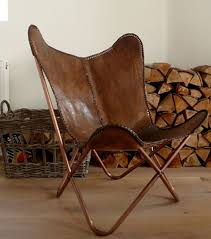 Folding Butterfly Chair Hand Made Butterfly Chair Leather Chair Rich Brown