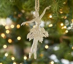 glitter ballerina ornament pottery barn
