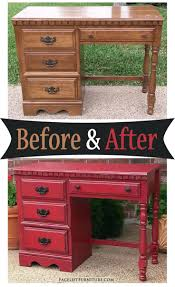 kitchener waterloo furniture distressed barn red desk with black glaze before and after from
