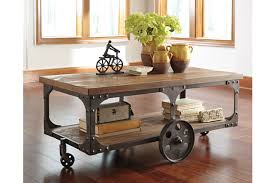 industrial coffee table with wheels vennilux coffee table ashley furniture homestore