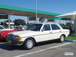 classic mercedes coupe in motion classic mercedes benz w123 in heavy traffic