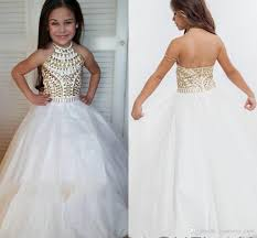 pageant dresses for white gown pageant dresses high neck halter gold