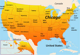 map of the usa map of usa showing chicago united states map chicago