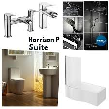 shower bath suites racstone com harrison complete bathroom suite with right handed p shaped shower bath