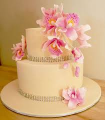 2 tier wedding cake structure with white orchid flowers online