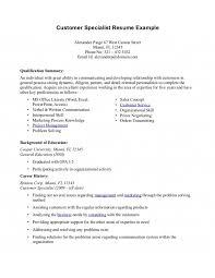 Customer Service Skills Summary Resume Customer Service Cover     Jeens net
