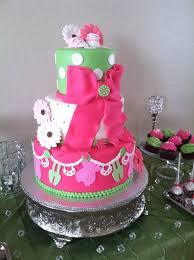 neon green baby shower cake