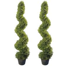 4 u0027 artificial topiary spiral boxwood trees set of 2 by seven