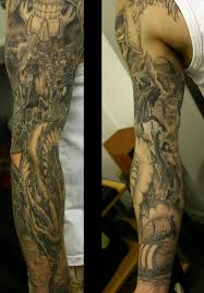 clouds and pirate ship sleeve tattoos photo 2 real photo