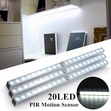 20 led wireless pir motion sensor night light under cabinet stairs